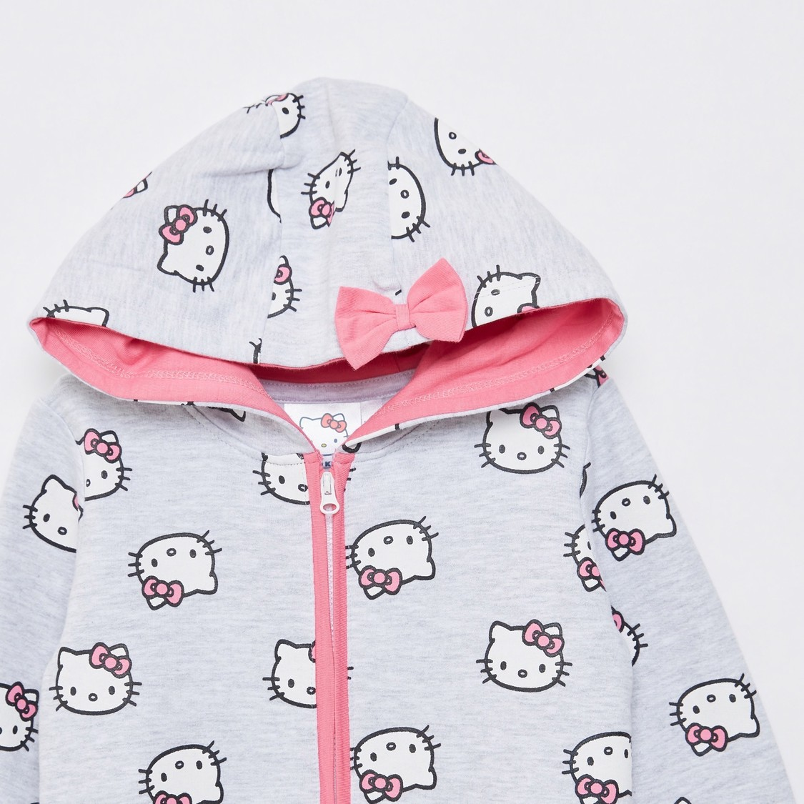Hello Kitty Print Hooded Romper with Long Sleeves