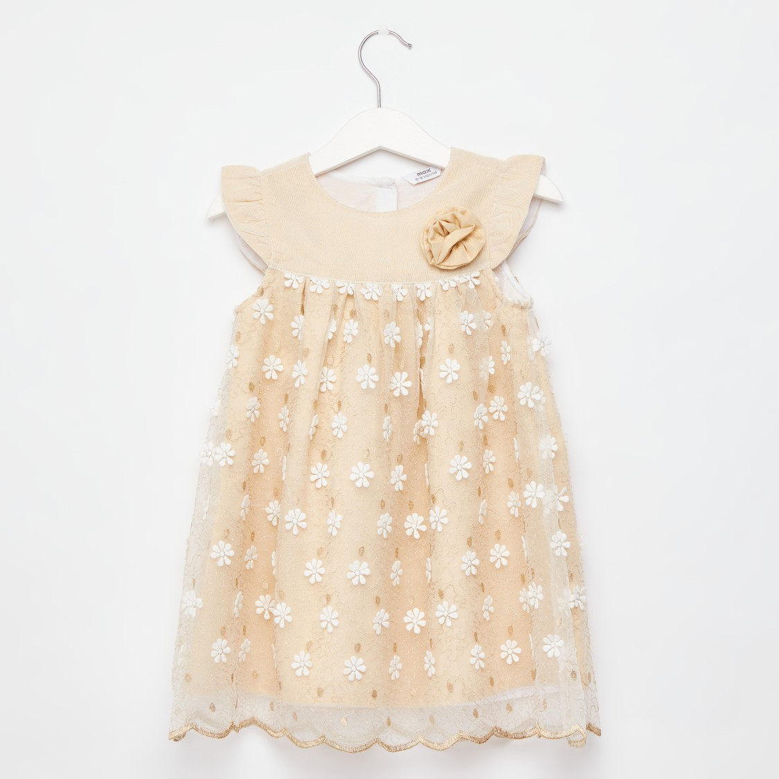 Floral Embroidered Dress with Floral Applique Detail