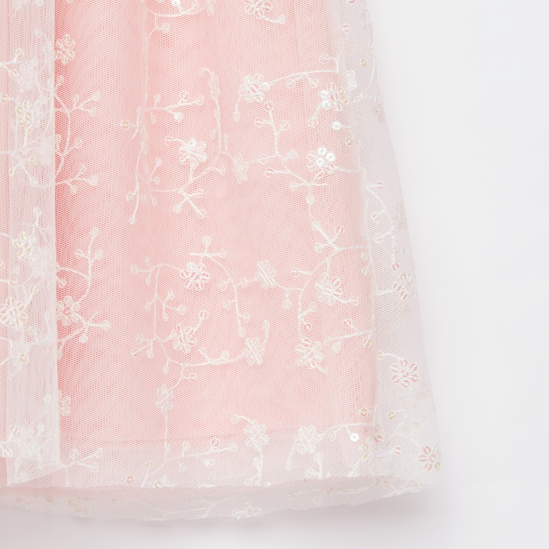 Lace Detail Overlay Sleeveless Dress with Floral Detail