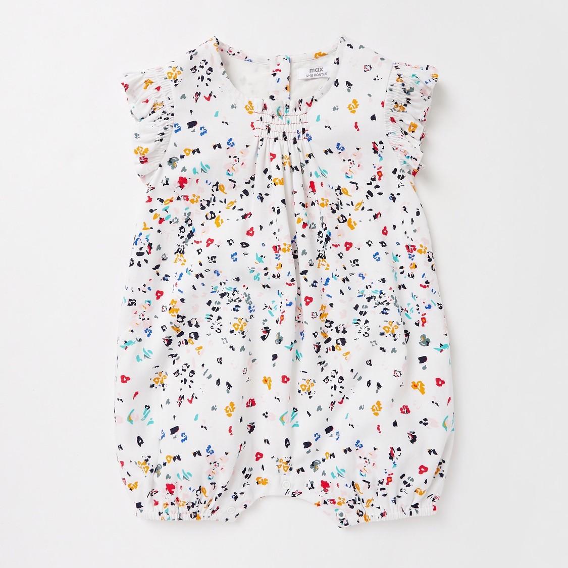 All-Over Floral Print Romper with Cap
