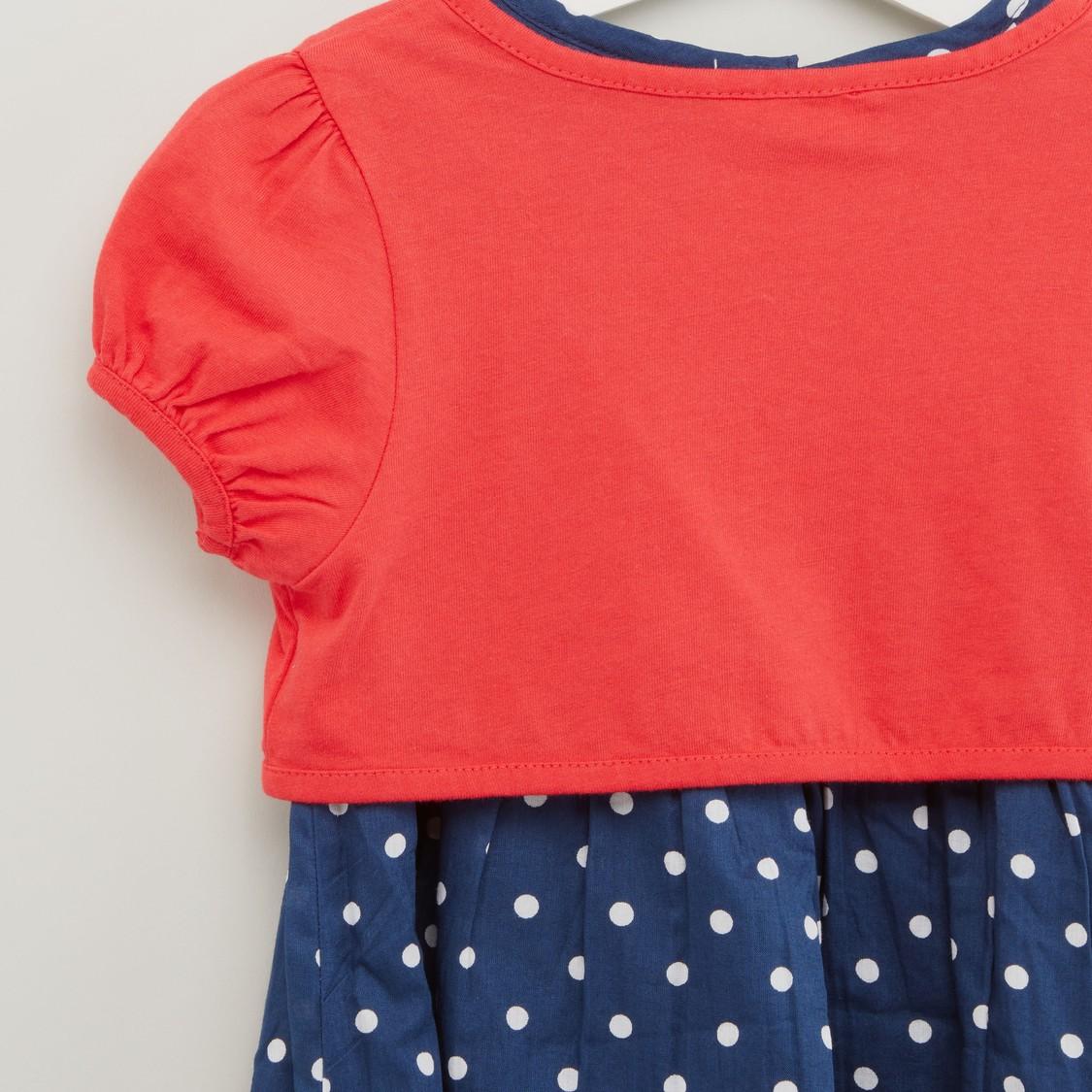 Polka Dots Print Dress with Shrug