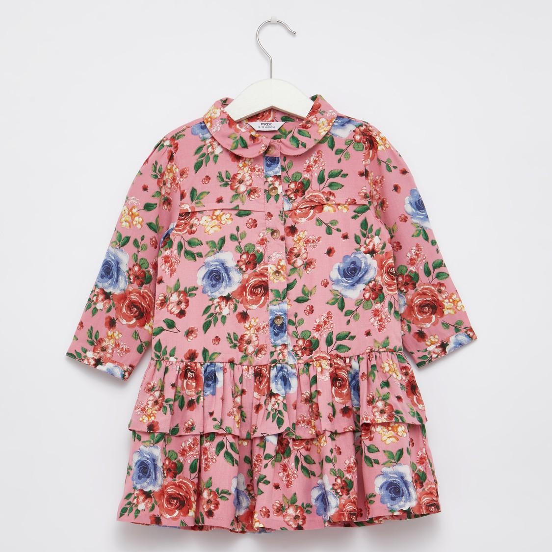 فستان بياقة عادية وطبعات أزهار مع أكمام طويلة وتفاصيل كشكشة