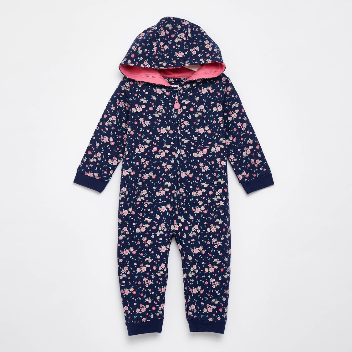 Floral Print Hooded Romper with Long Sleeves
