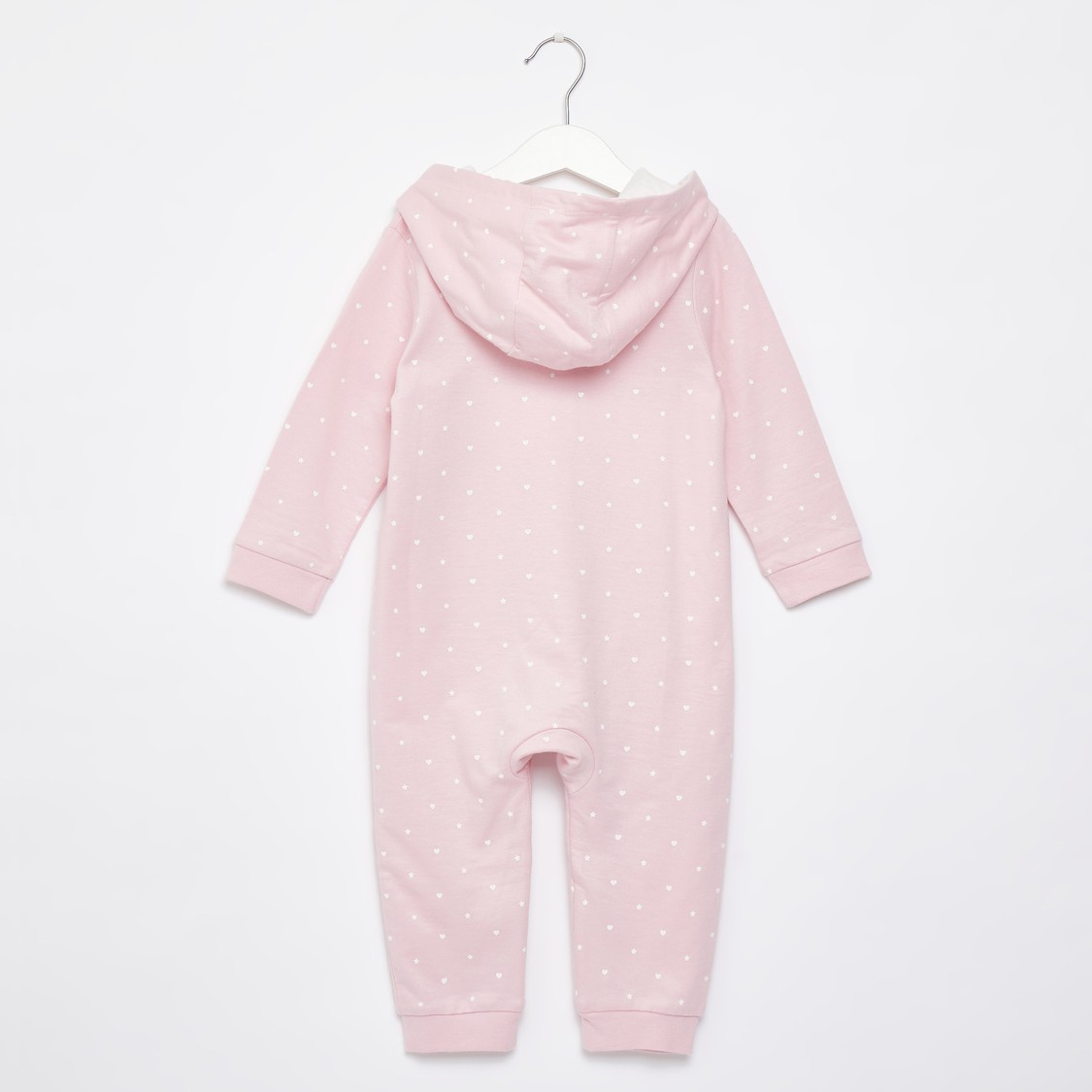 Spot Bird Print Hooded Romper with Long Sleeves