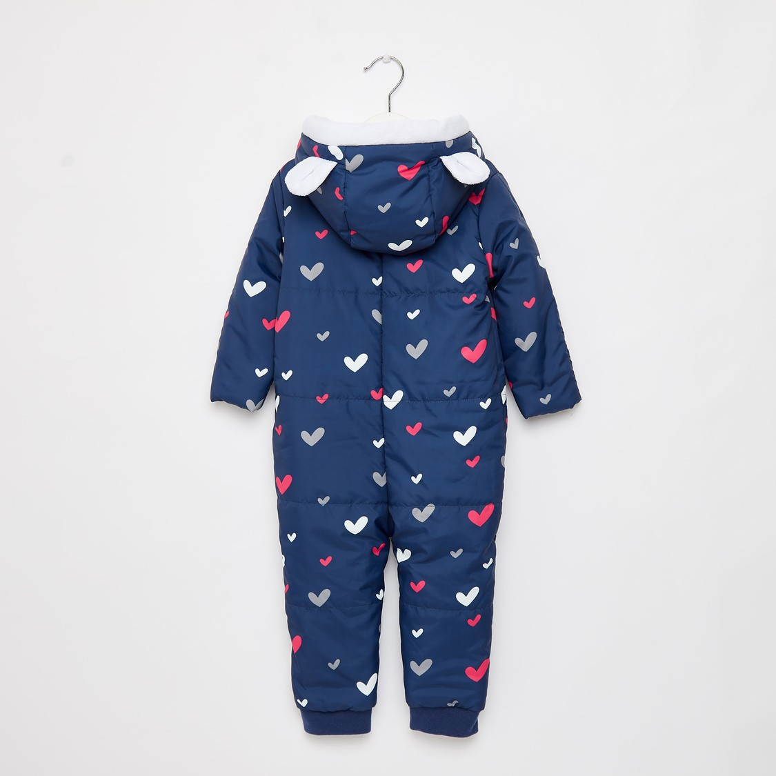 All-Over Hearts Print Pram Suit with Hooded Neck and Long Sleeves