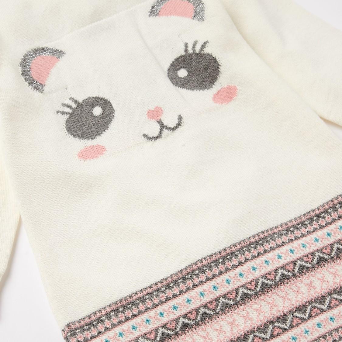 Panda Face Print Sweater Dress and Stockings Set