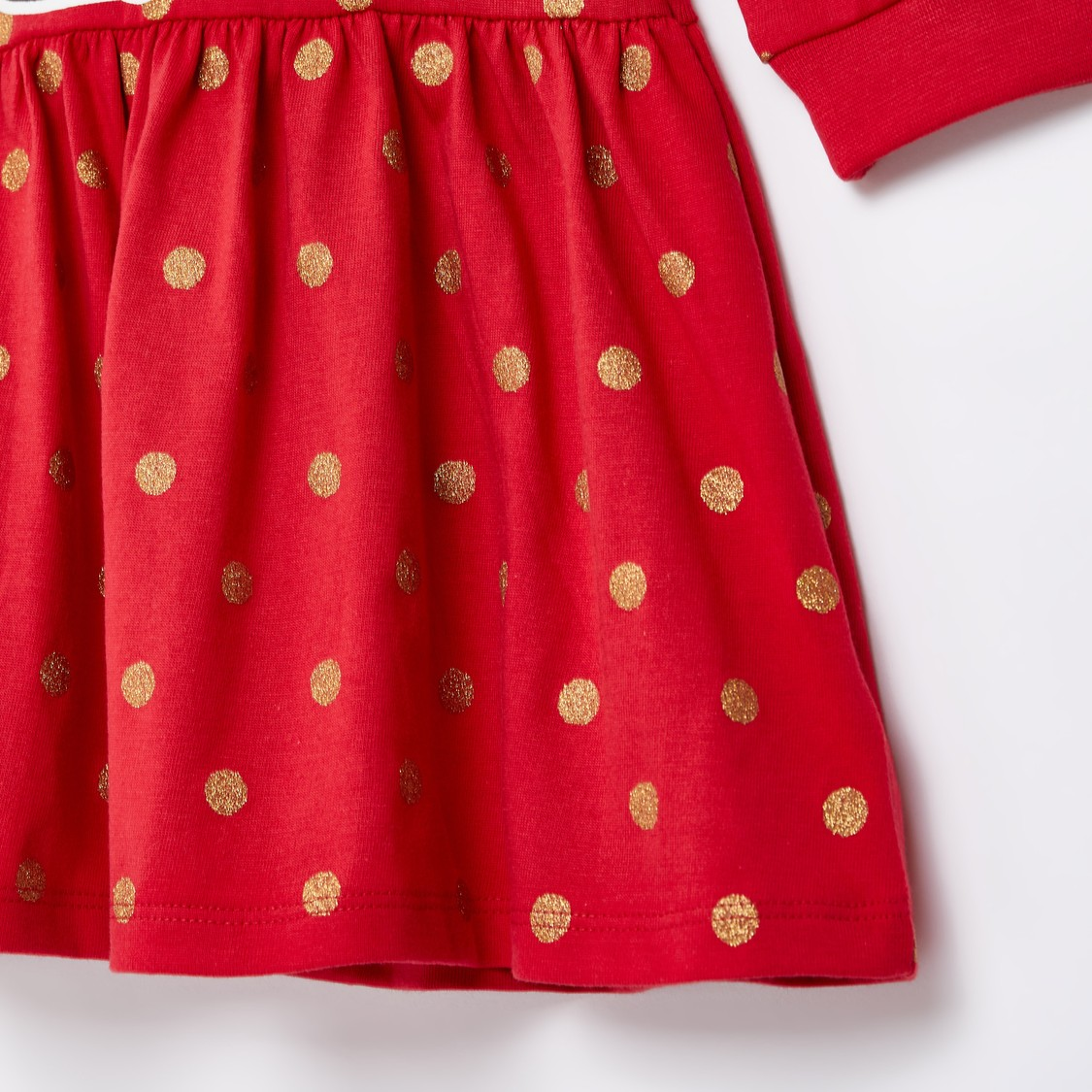 Minnie Mouse Graphic Print Dress with Round Neck and Long Sleeves