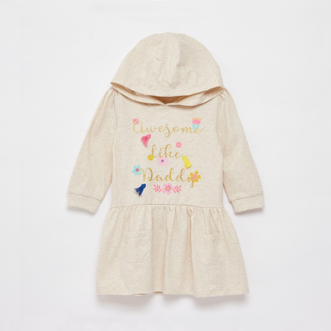 Slogan Print Knee-Length Dress with Hooded Neck and Long Sleeves