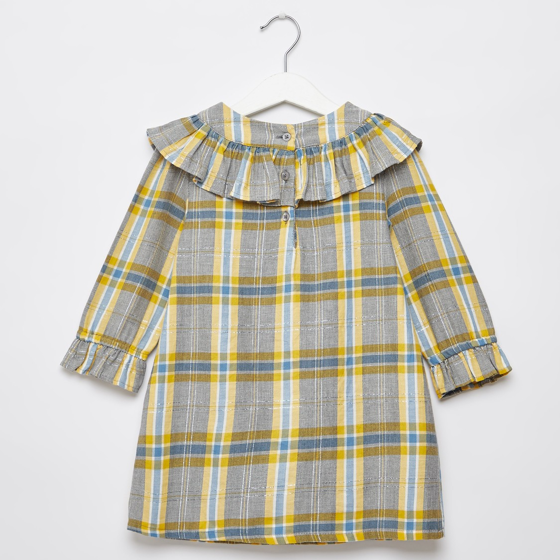 Chequered Knee Length Dress with Ruffle Detail and Long Sleeves