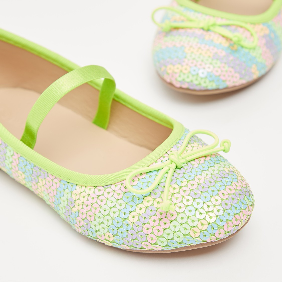Sequin Detail Shoes with Elasticised Stap