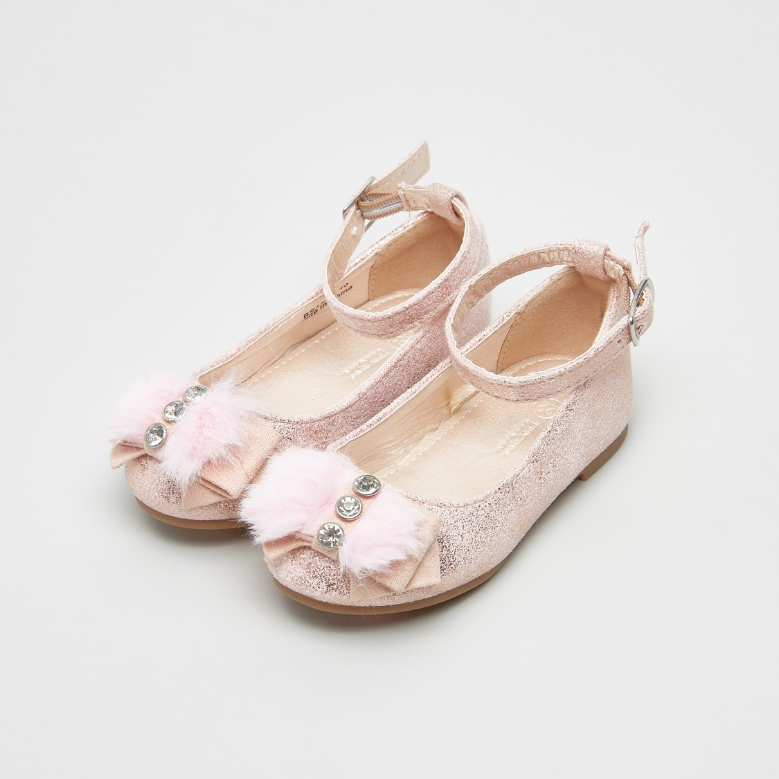 Textured Mary Jane Shoes with Bow Applique Detail