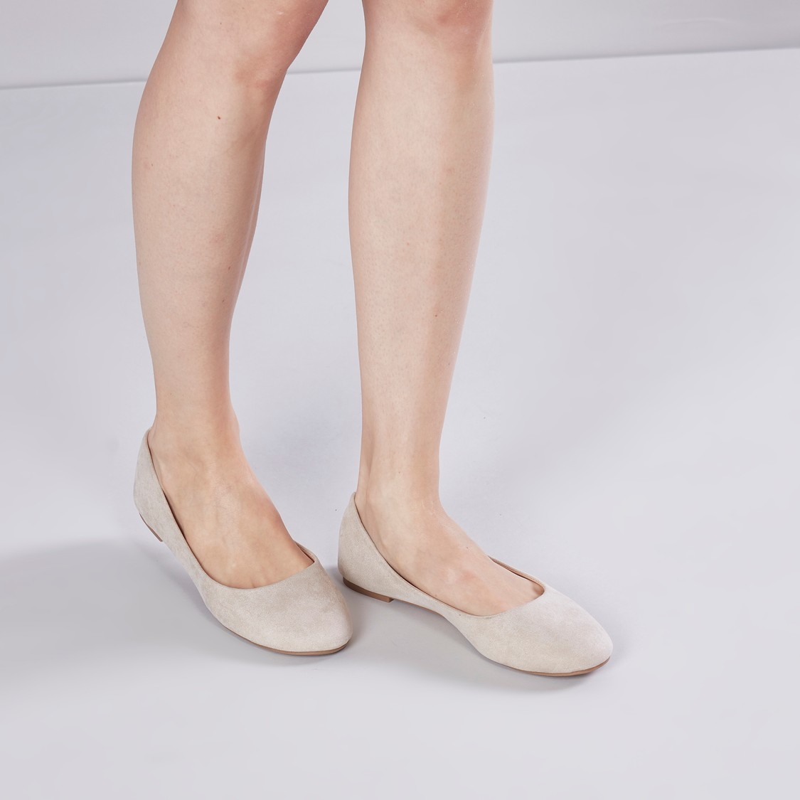 Plain Ballerina Shoes with Chequered Footbed