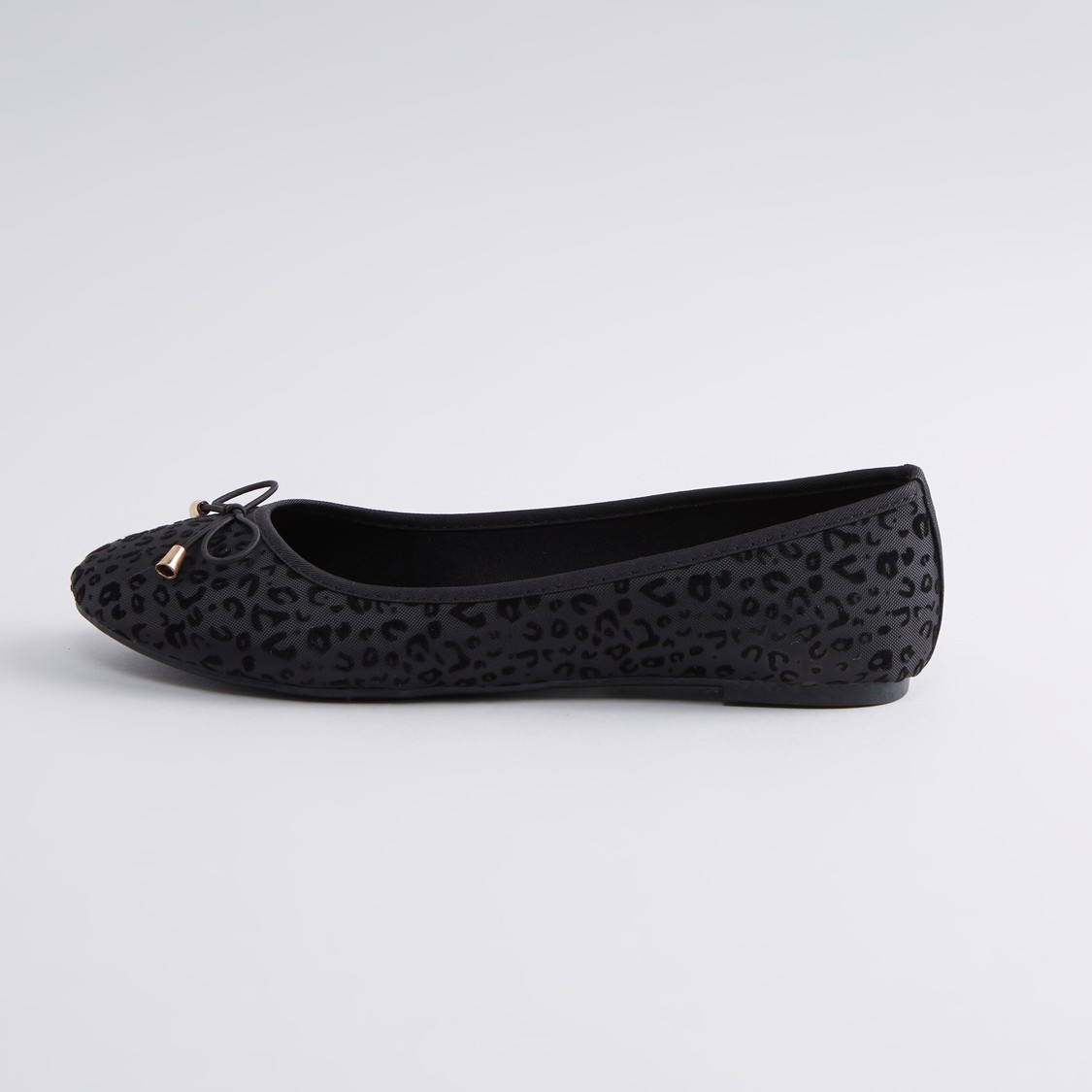 Printed Ballerina Shoes with Bow Applique