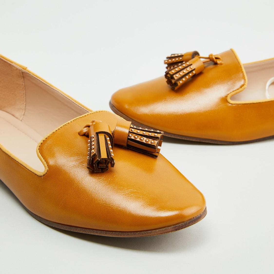 Embellished Slip-On Ballerinas with Tassel Detail