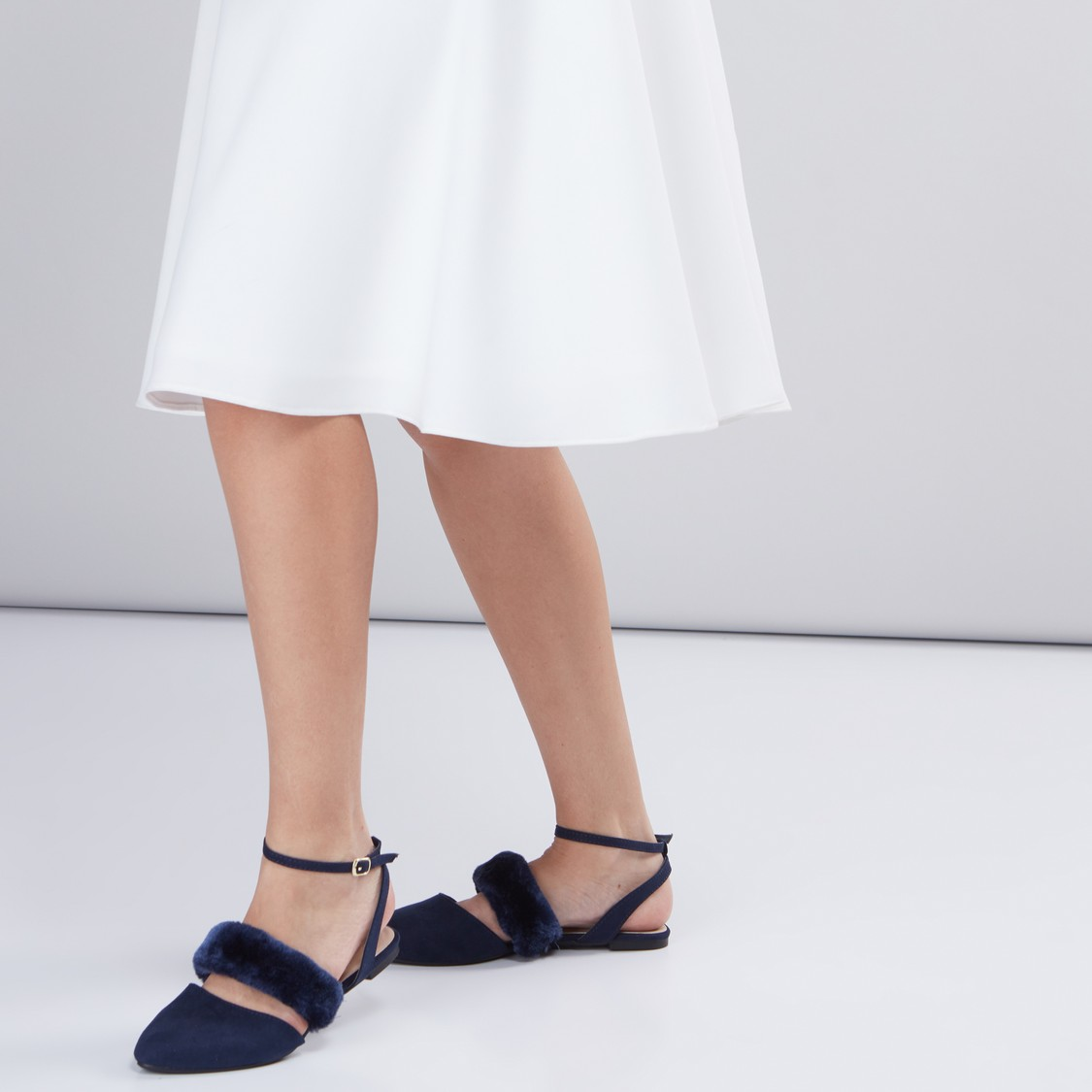 Plush Detail Sandals with Ankle Strap and Buckle Closure