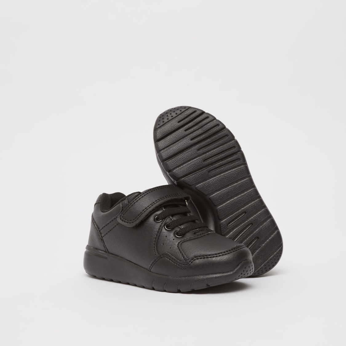 Textured Sneakers with Hook and Loop Closure