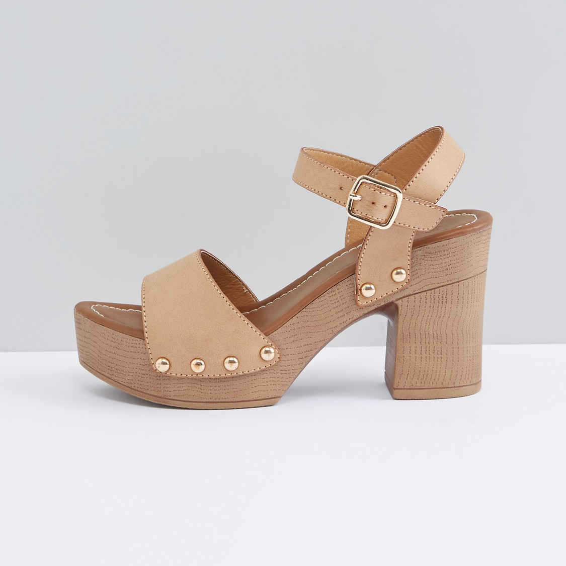 Ankle Strap Sandals with Block Heels and Pin Buckle Closure