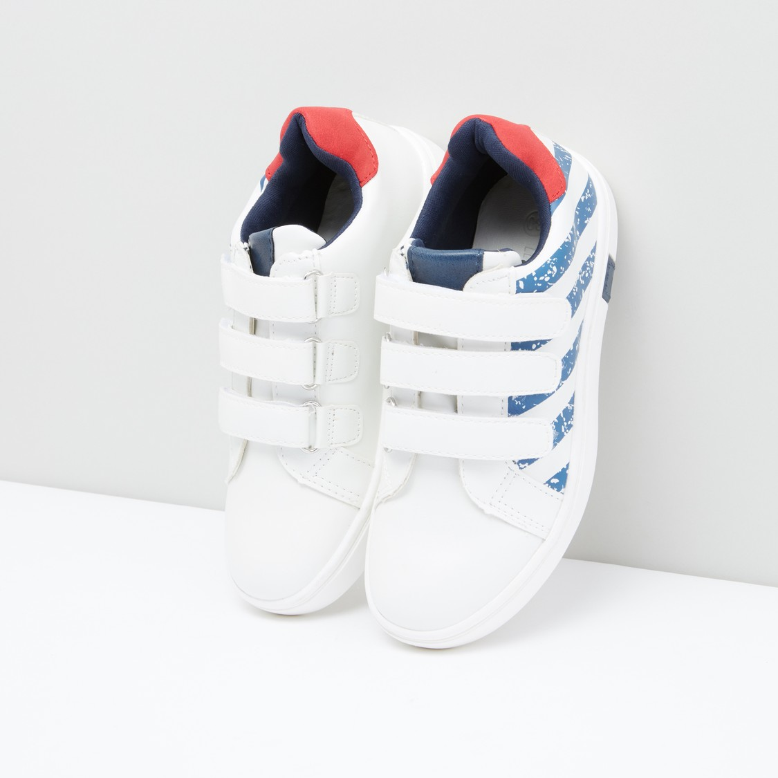 Printed Sneakers with Hook and Loop Closure