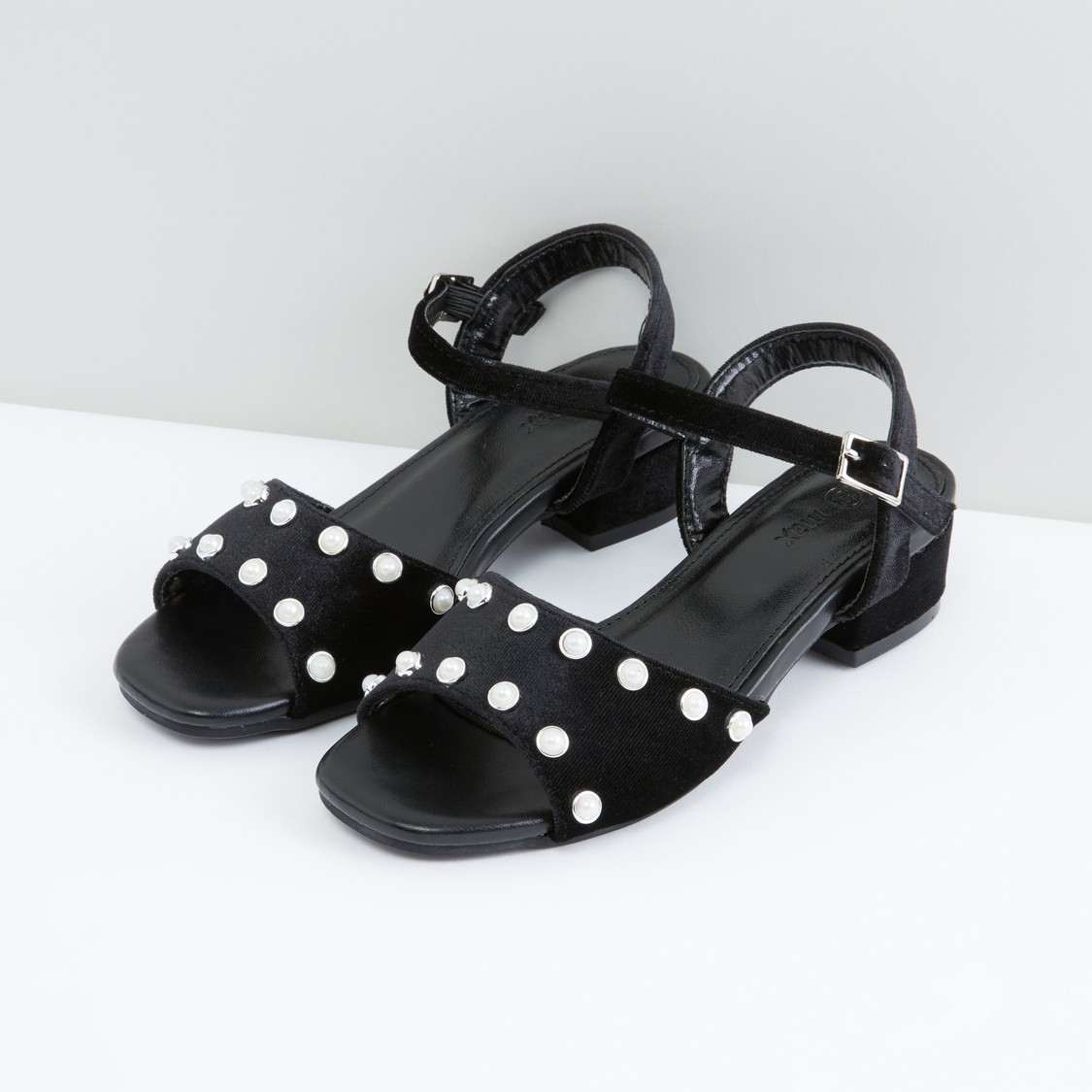 Pearl Detail Sandals with Ankle Strap and Pin Buckle Closure
