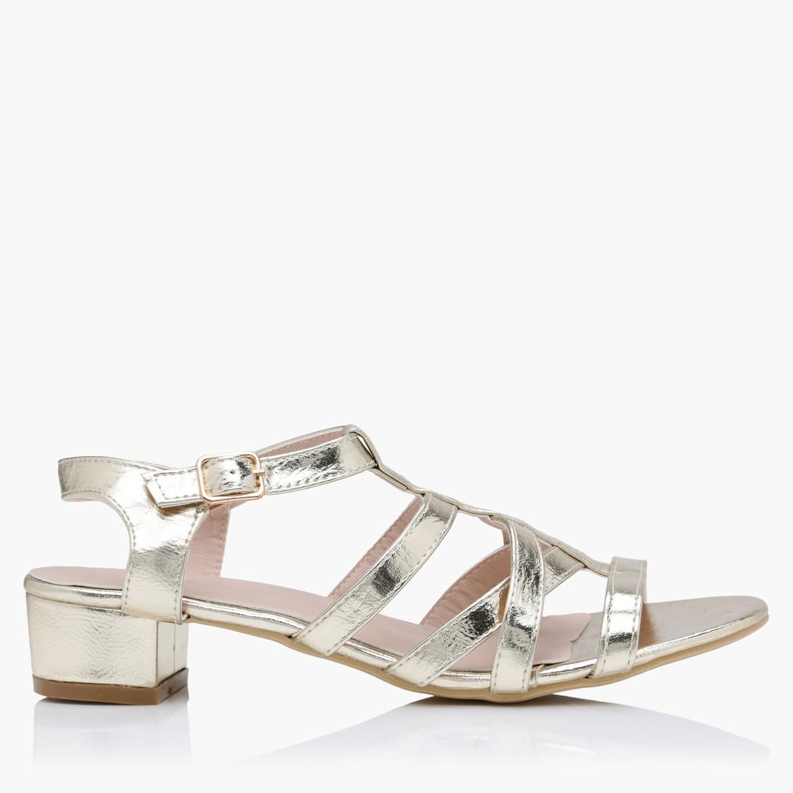 Multi Strap Block Heel Sandals with Buckle Closure