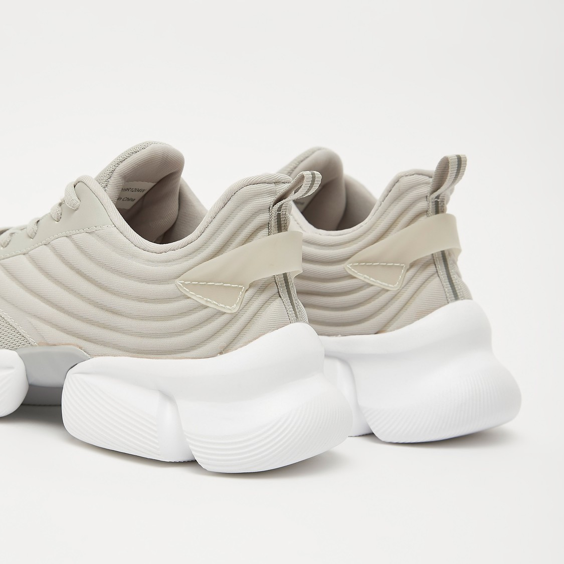 Textured Lace-Up Chunky Sneakers with Pull Tab
