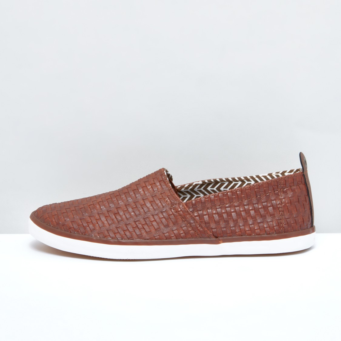 Textured Slip-On Shoes with Eyelet Detail Pull Tab