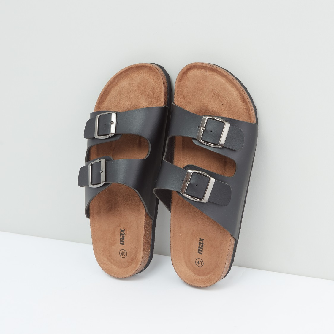 Dual Strap Sandals with Pin Buckle Closure