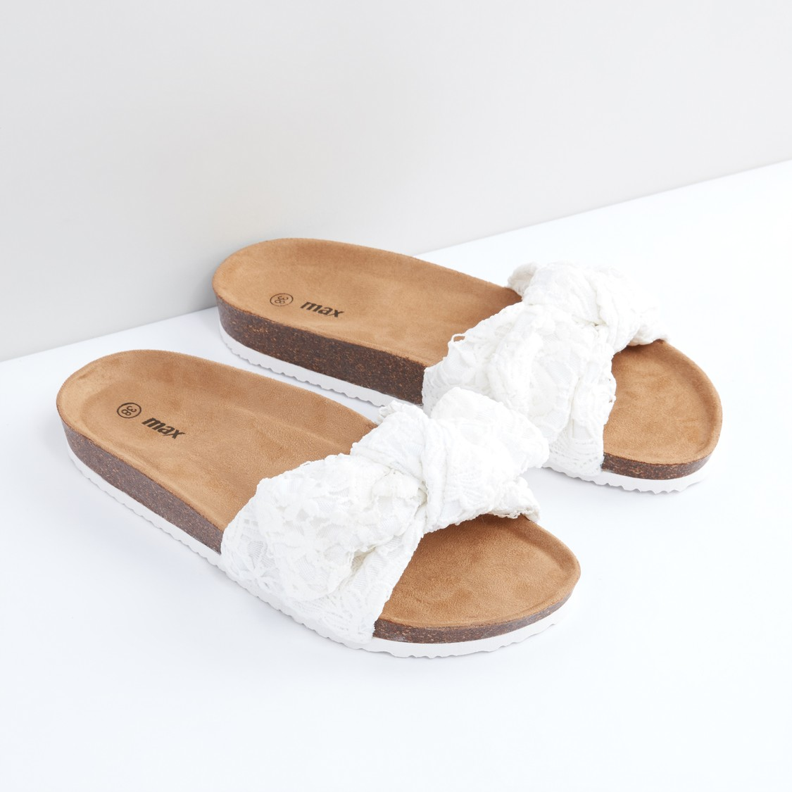 Plush Slides with Bow Detail