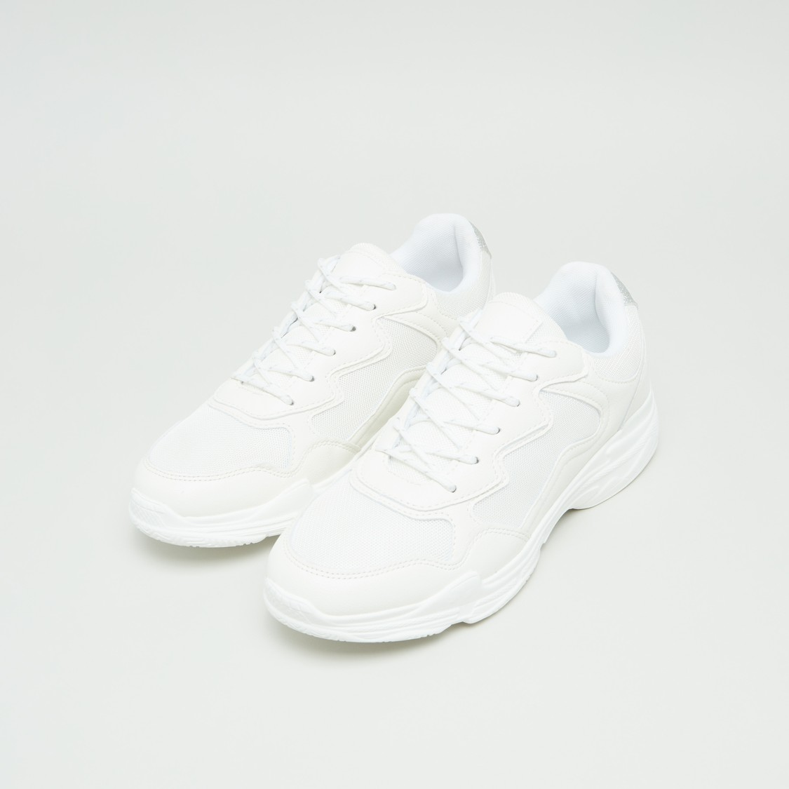 Stitch Detail Sneakers with Lace-Up