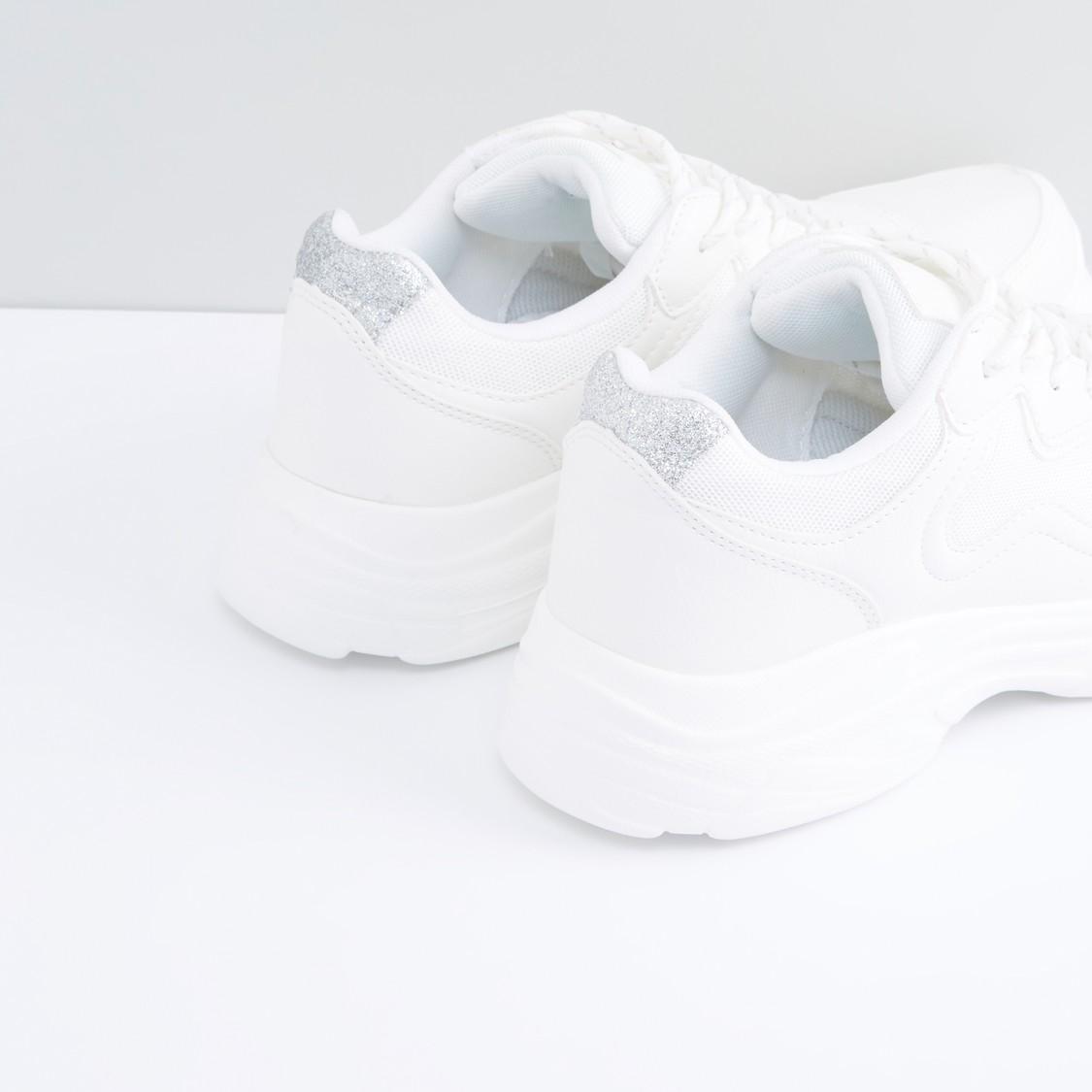 Stitch Detail Lace-Up Sports Shoes