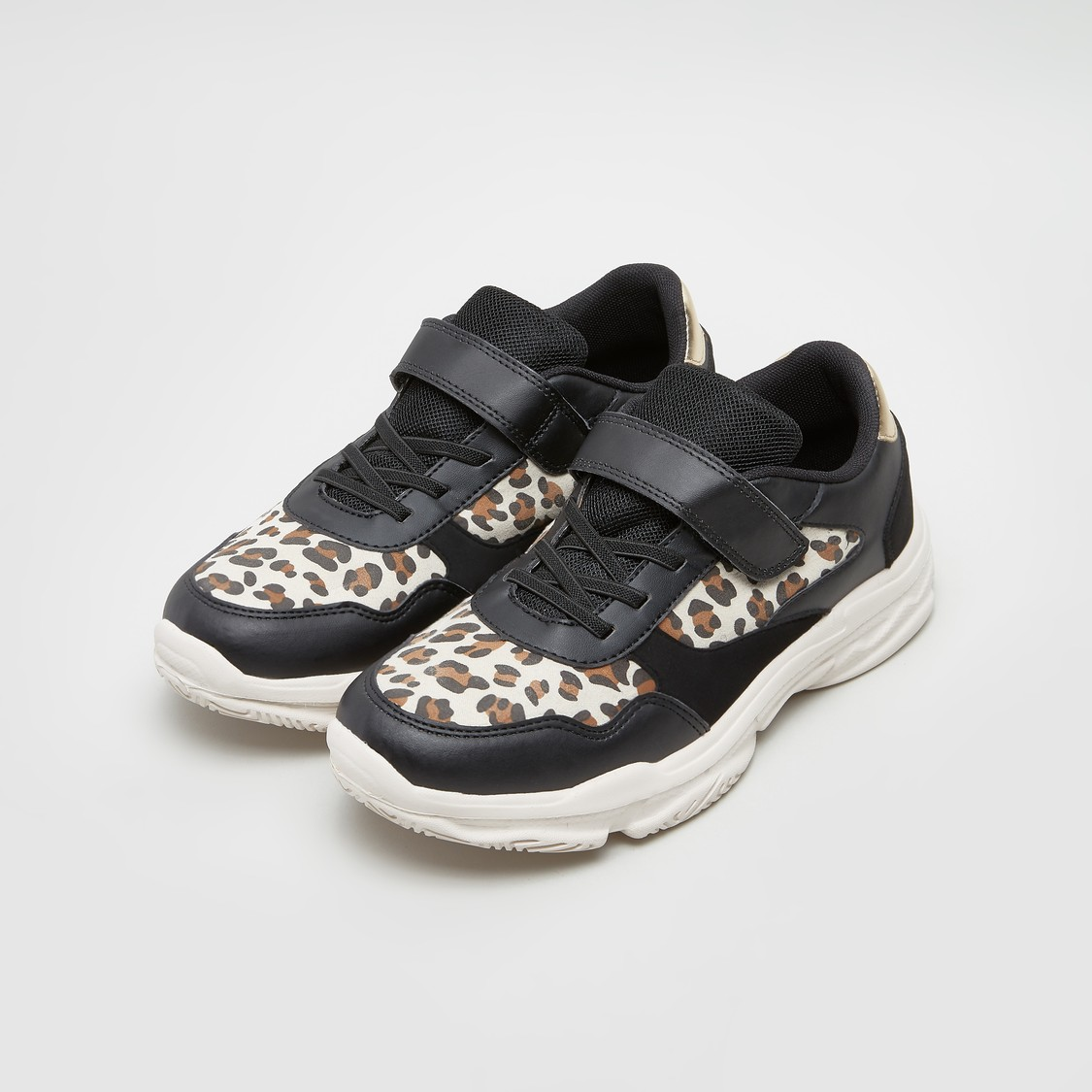 Printed Lace-Up Sneakers with Hook and Loop Closure