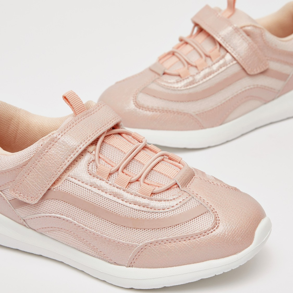 Textured Trainers with Hook and Loop Closure
