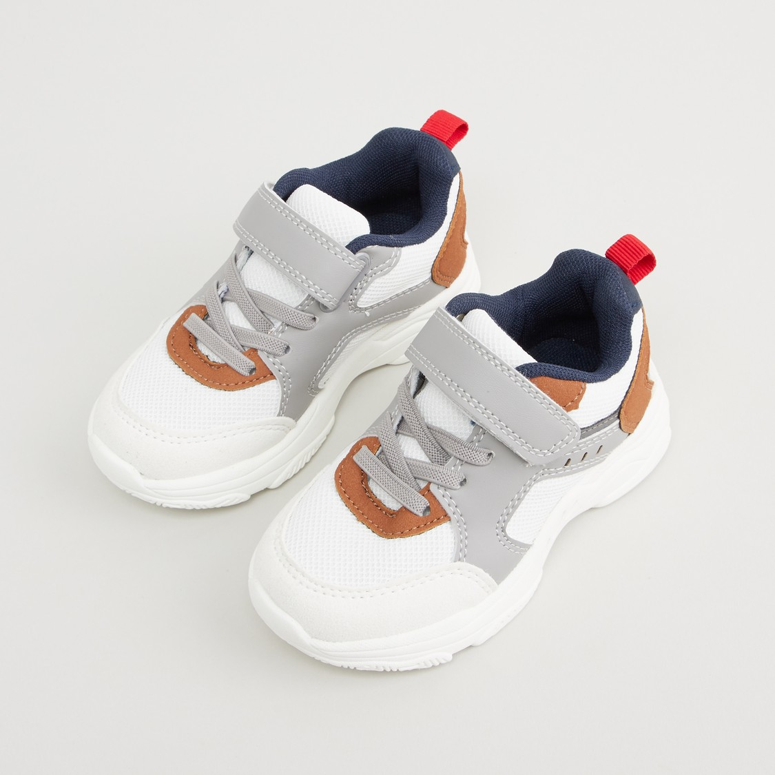 Colourblock Sports Shoes with Snap Closure