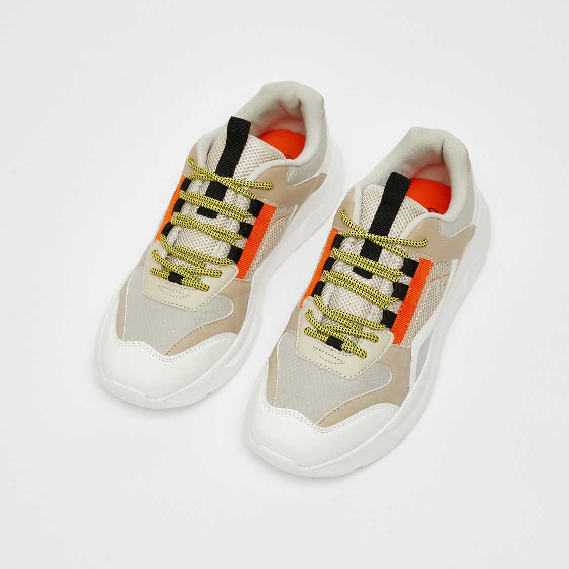 Solid Lace-Up Sports Shoes with Pull Tab