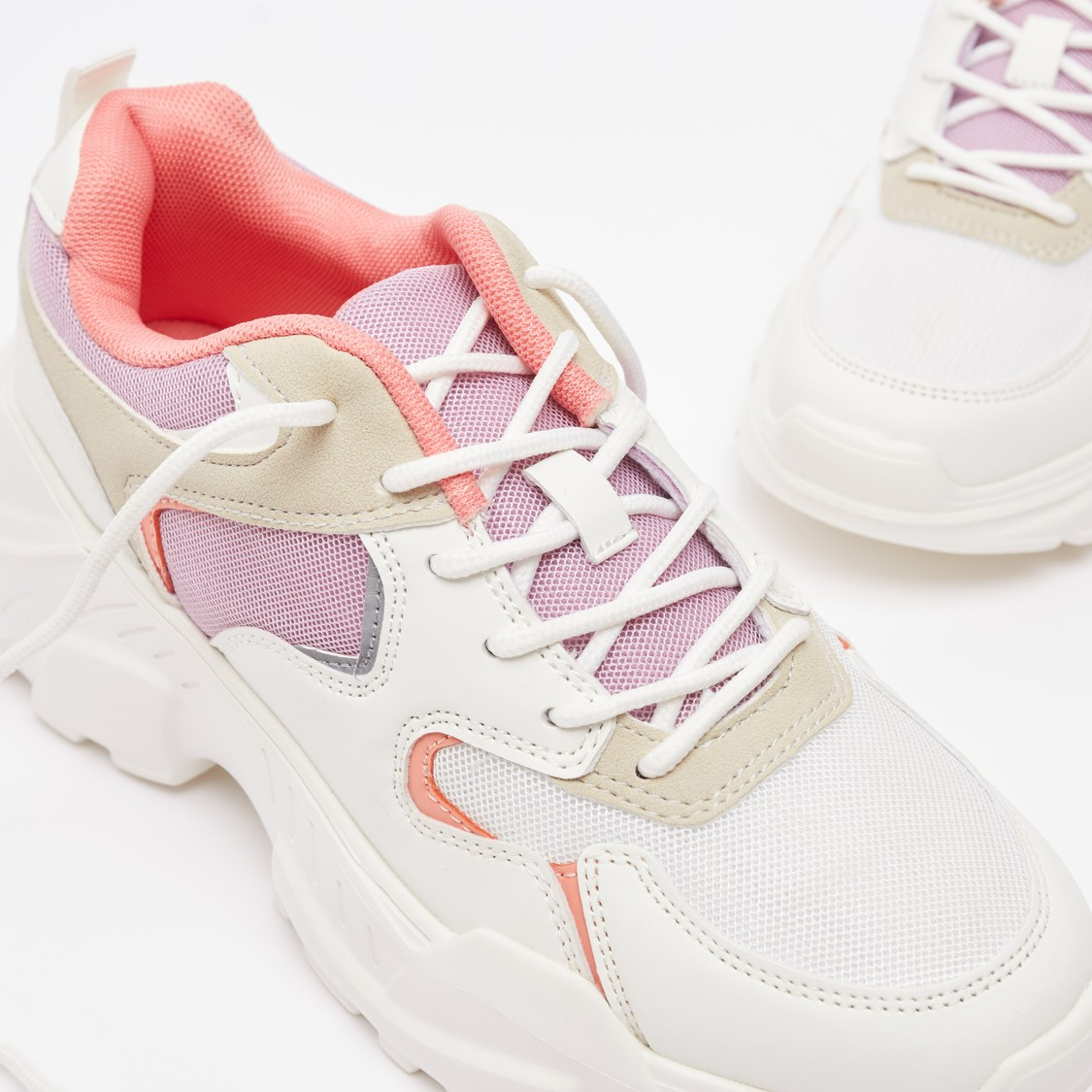Colour Block Lace-Up Chunky Sneakers