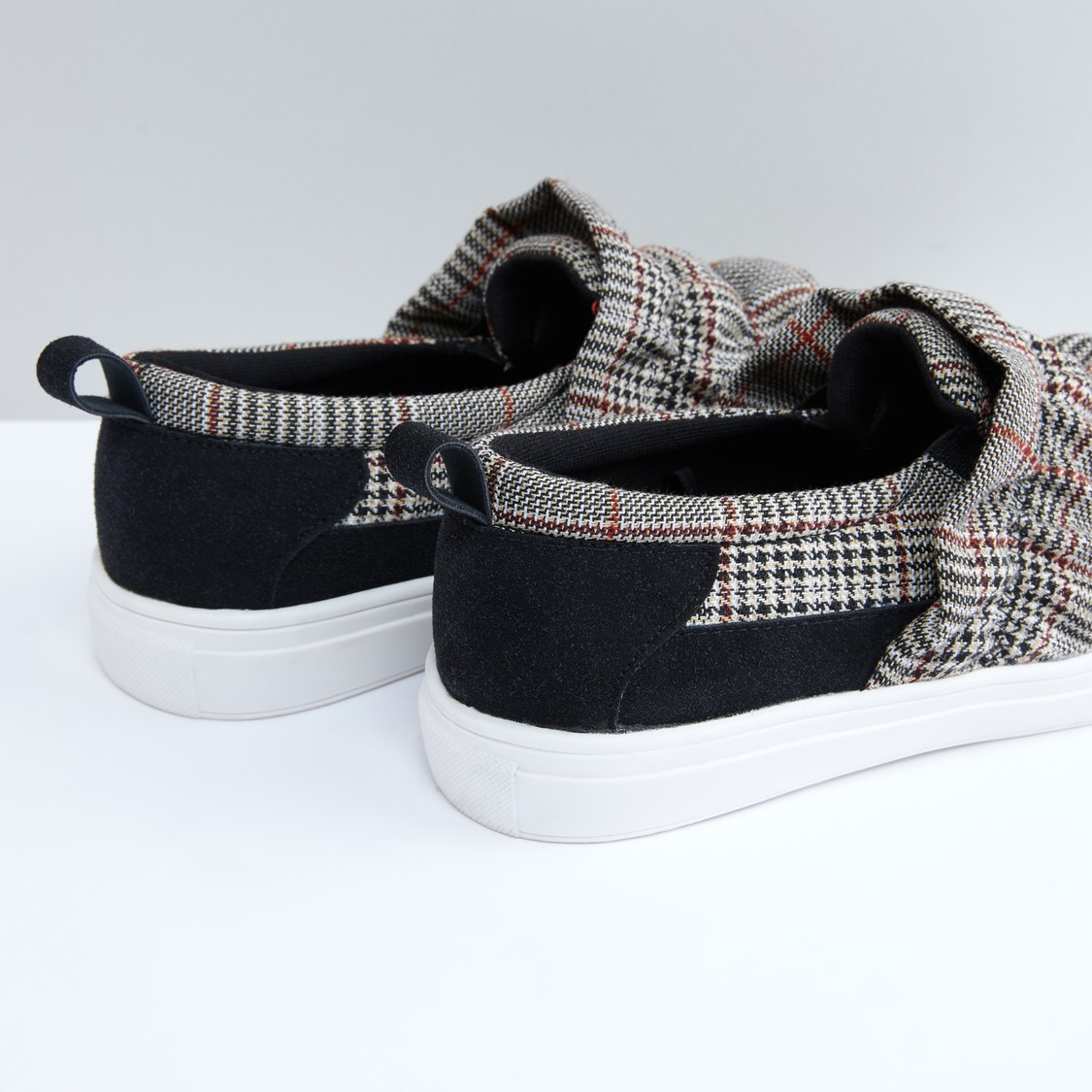 Chequered Slip-On Shoes with Ruffle Detail