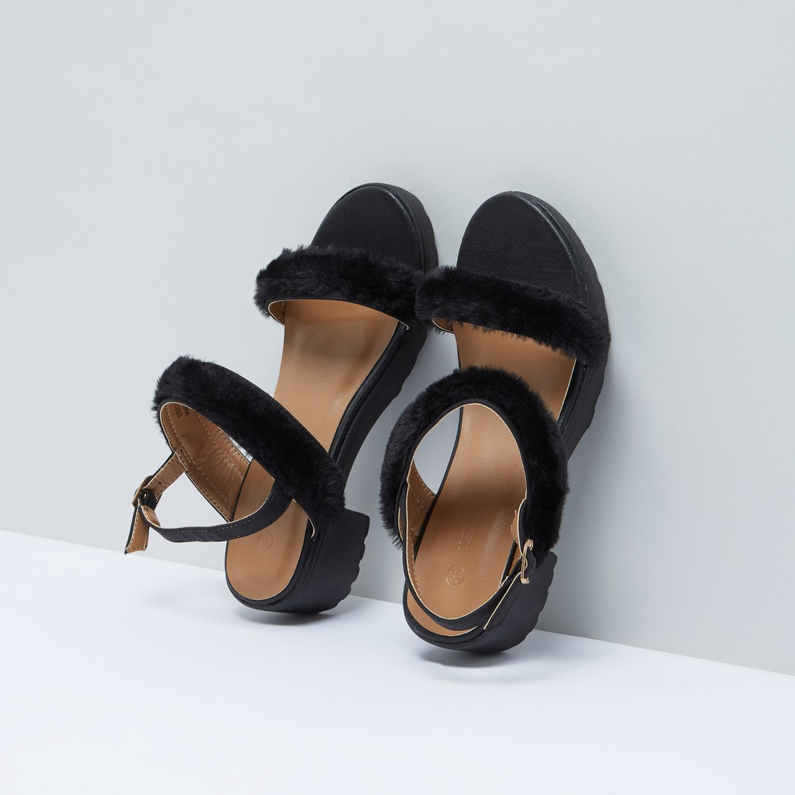 Plush Detail Sandals with Pin Buckle Closure