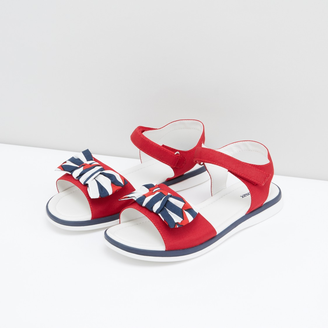 Bow Applique Detail Sandals with Hook and Loop Closure