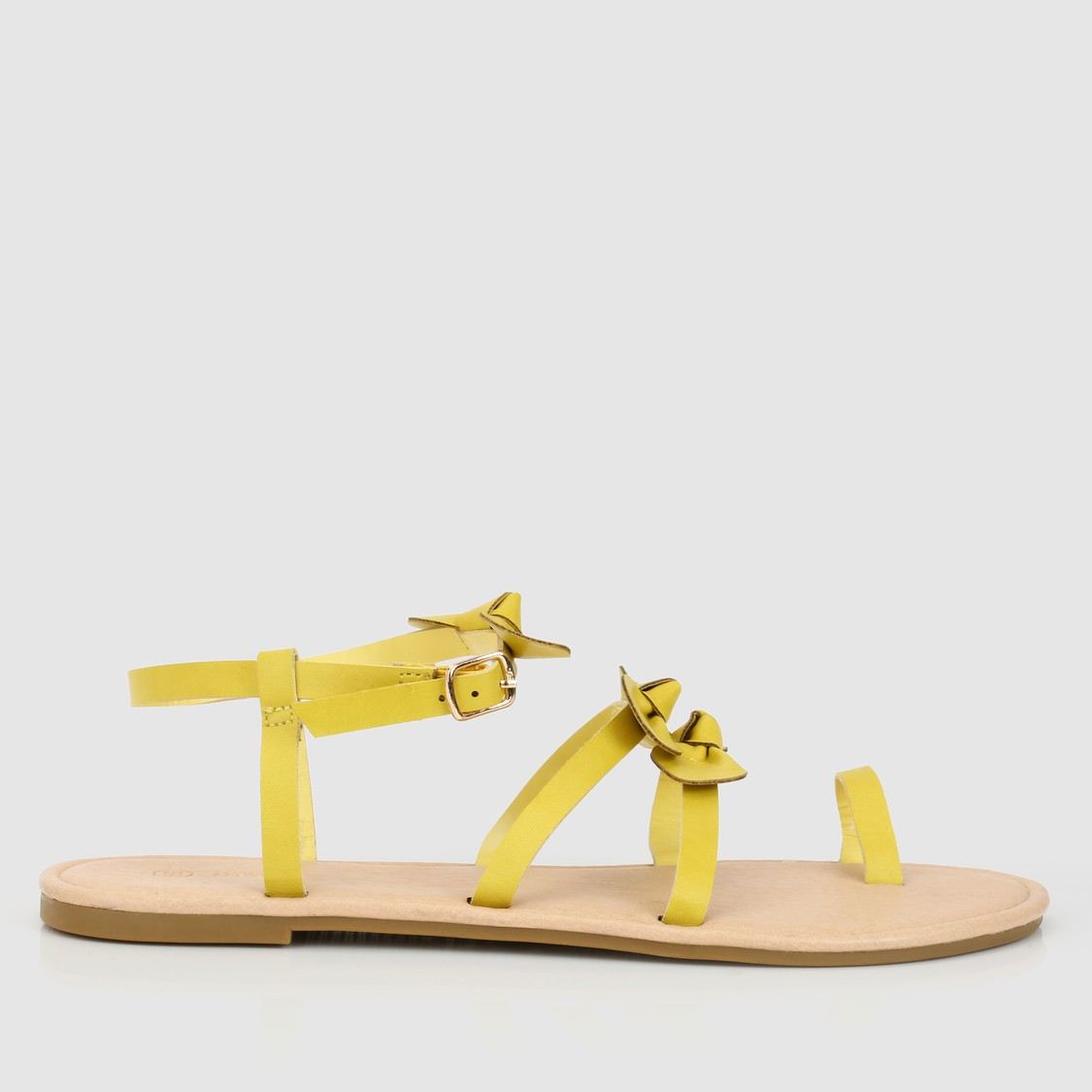 Bow Detail Sandals with Buckle Closure