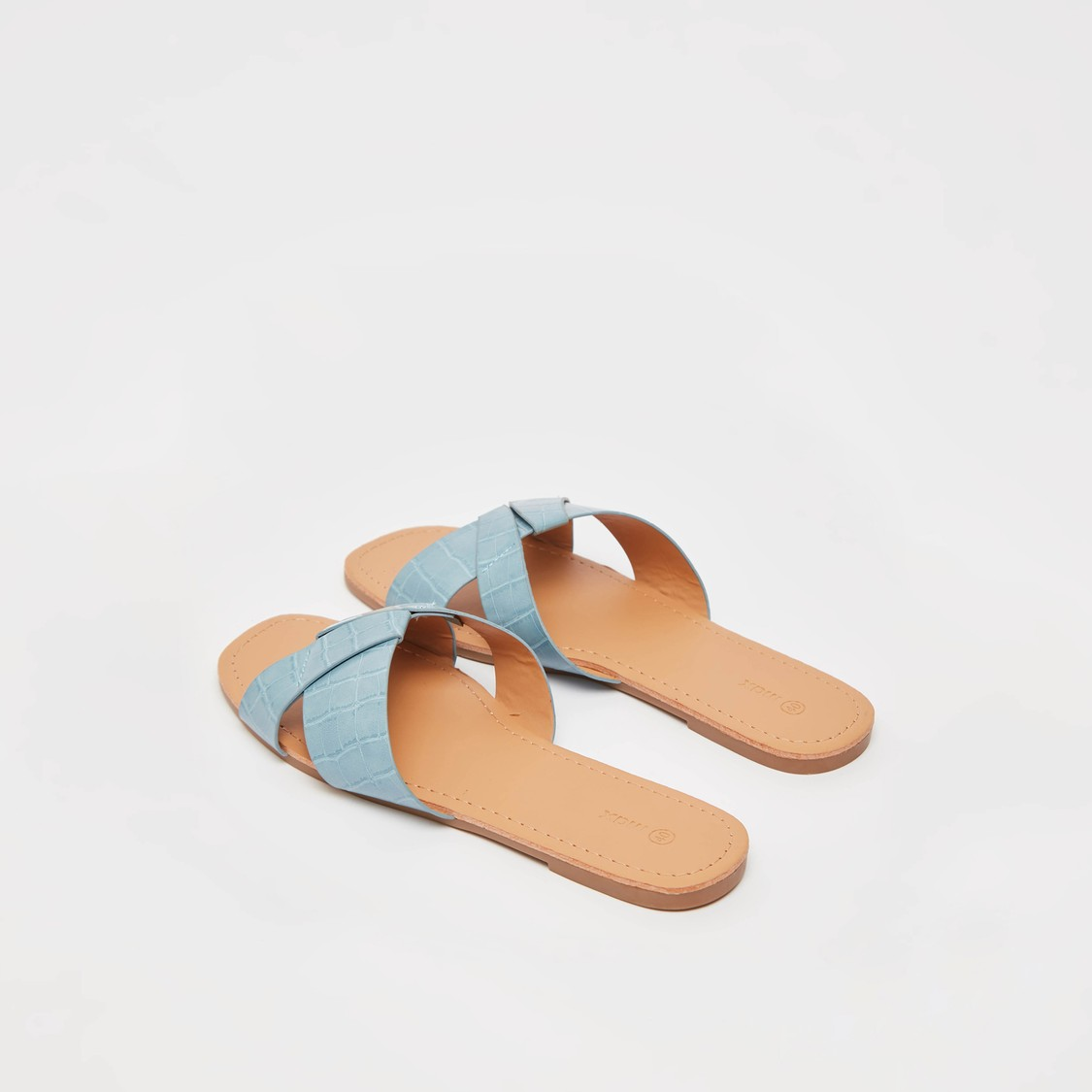 Slip-On Sandals with Reptilian Textured Criss Cross Straps