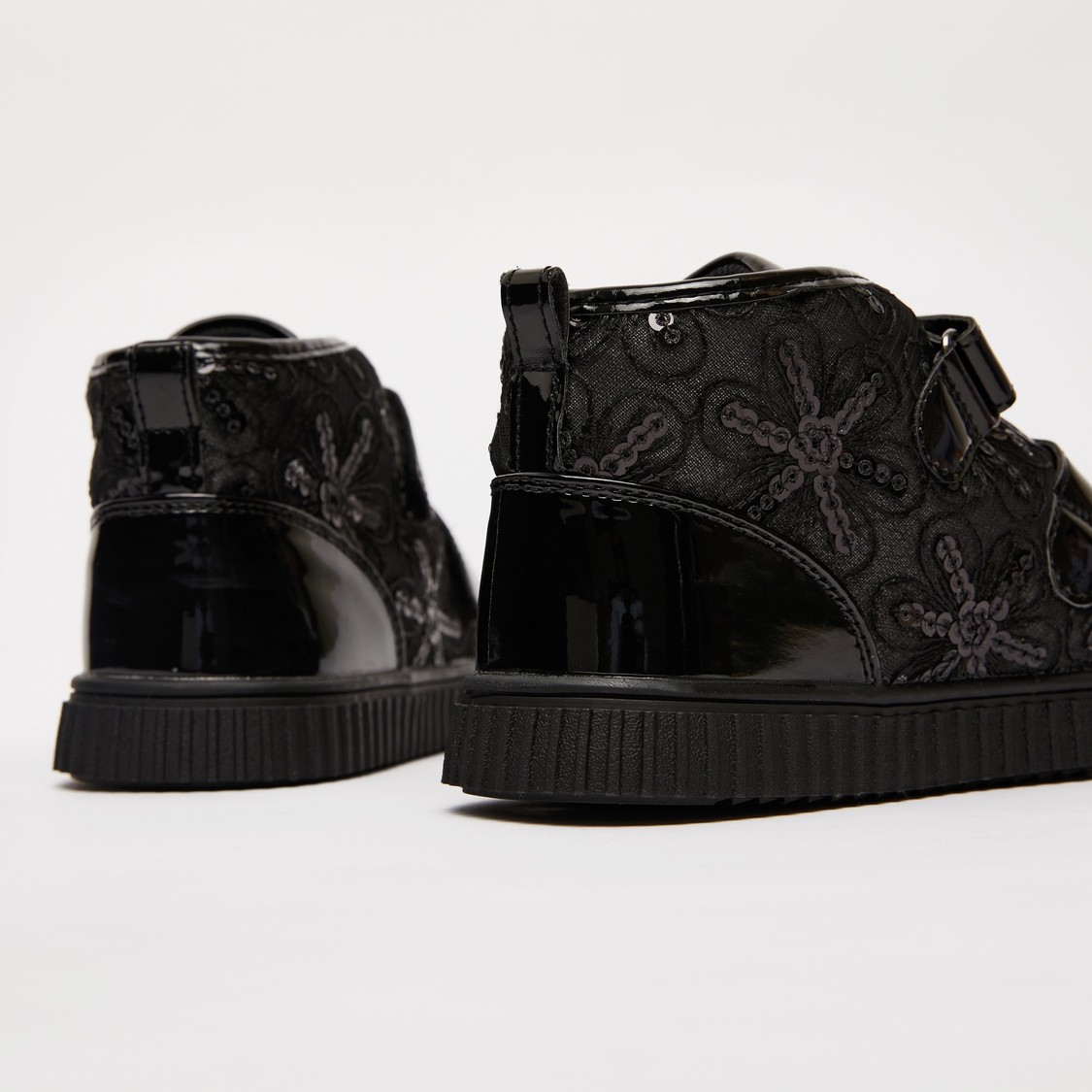 Embellished Floral Panel Boots with Hook and Loop Closure