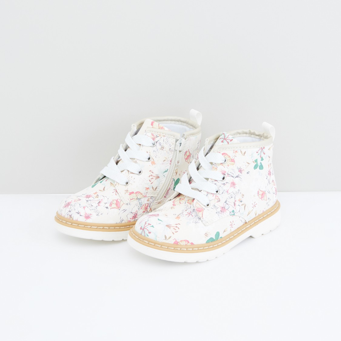 Floral Printed Shoes with Lace Detail and Zip Closure