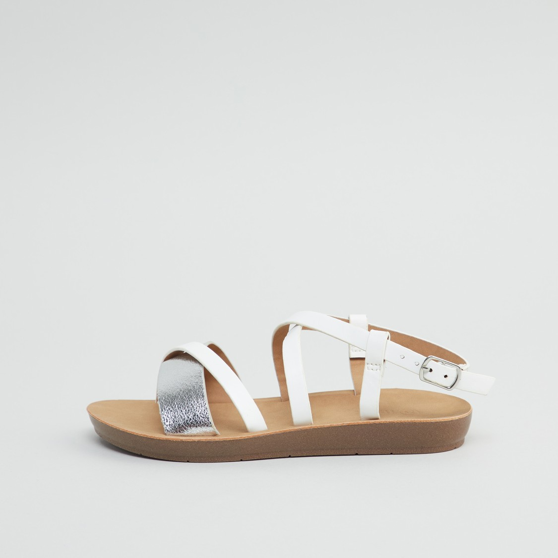 Textured Strap Sandals with Buckle Closure