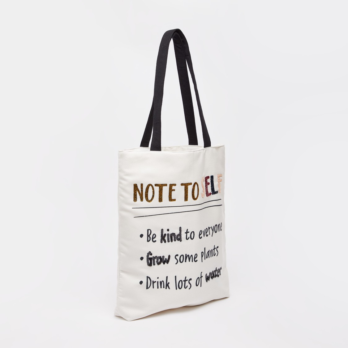 Typographic Print Shopper Bag with Twin Handles