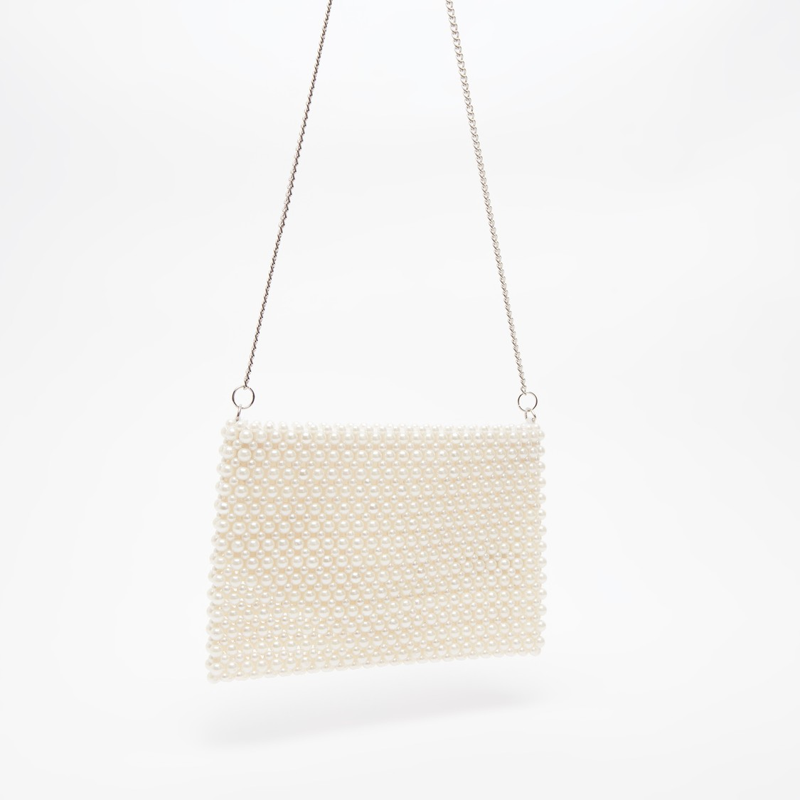 Pearl Detail Crossbody Bag with Metallic Chain and Zip Closure
