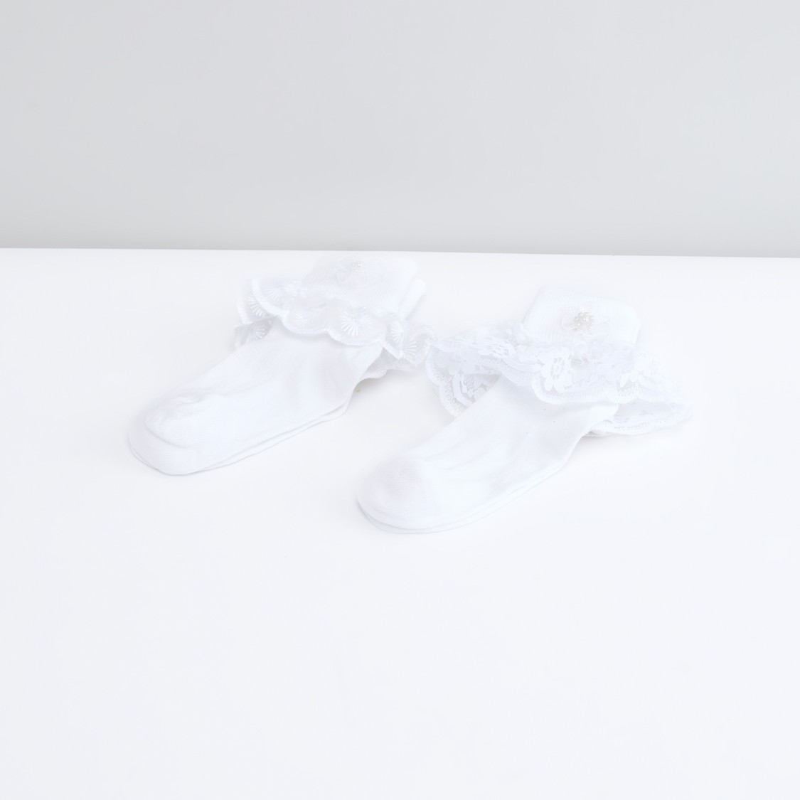 Frill Detail Quarter Length Socks - Set of 2