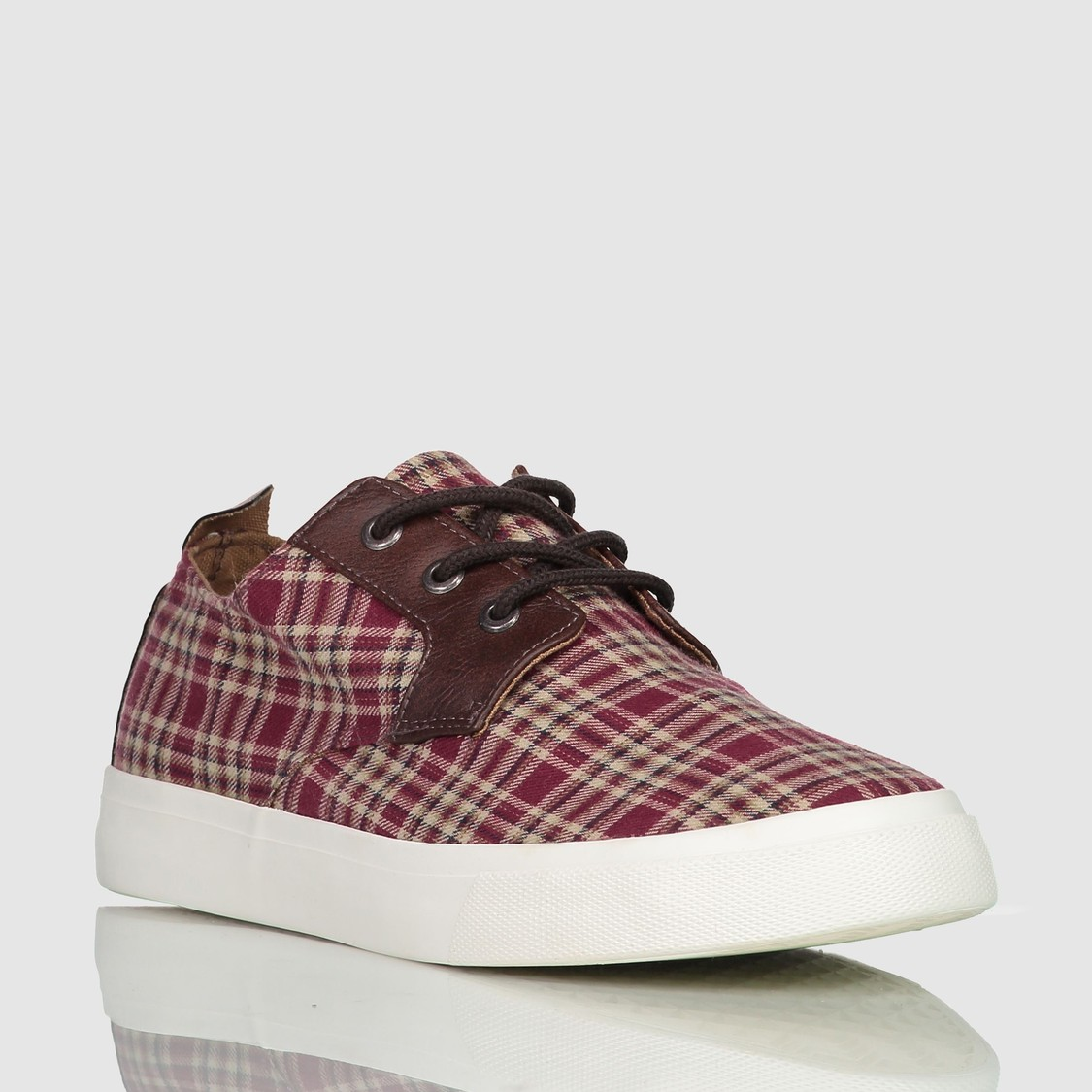 Chequered Canvas Shoes with Lace Detail