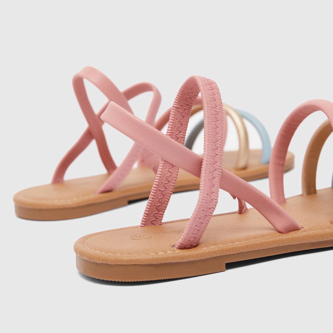 Strappy Flat Sandals with Elasticated Detail