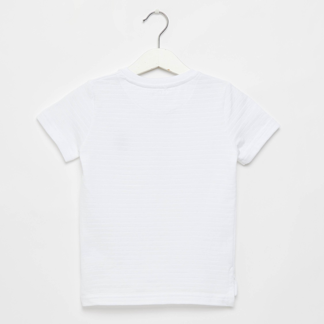 Textured Henley Neck T-shirt with Short Sleeves