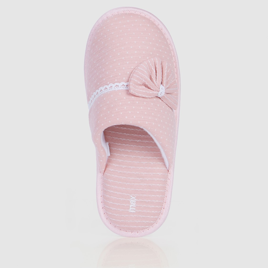 Mule Bedroom Slippers with Bow Applique